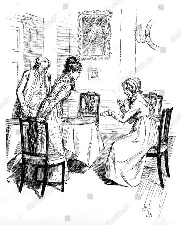 Fanny Price and Mrs. Norris. Author: Jane Austen. Illustration by Hugh Thomson, 1897.