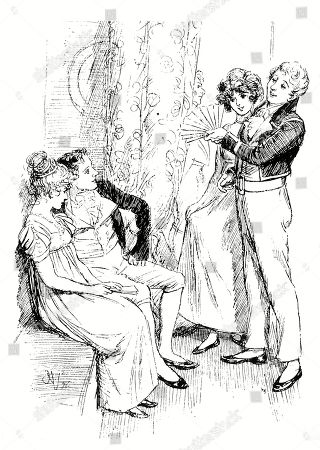 Fanny Price Seated with Mr. Henry Crawford. Author: Jane Austen. Illustration by Hugh Thomson, 1897.