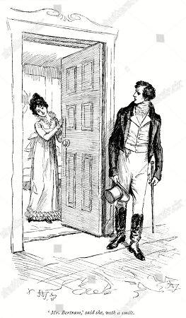 Fanny Price and Mr. Bertram. Author: Jane Austen. Illustration by Hugh Thomson, 1897.