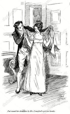 Fanny Price and Edmund Crawford. Author: Jane Austen. Illustration by Hugh Thomson, 1897.