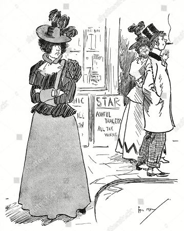 scenes phil may coster costers cockneys east end londoner londoners 1890s Outerwear editorial picture of smug cockney woman who has nabbed her rival s