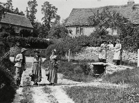 Villagers Stopping to Chat and Pass the Time of Day in an Idyllic Rural English Village 1890s. Photograph by Graystone Bird, of Bath