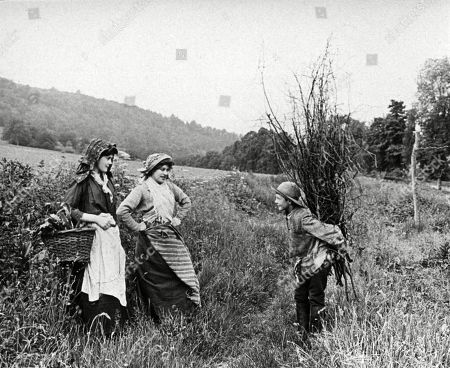 Two Young Countrywomen Greet A Boy Who Has Been Collecting A Bundle of Sticks 1890s. Photograph by Graystone Bird, of Bath