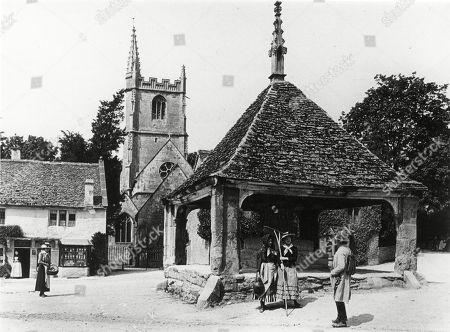 Village Square Castle Combe Wiltshire 1890s with the Market Cross. Photograph by Graystone Bird, of Bath