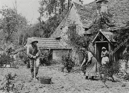 Rustic Types Digging Over A Vegetable Patch Outside A Cottage 1890s. Photograph by Graystone Bird, of Bath