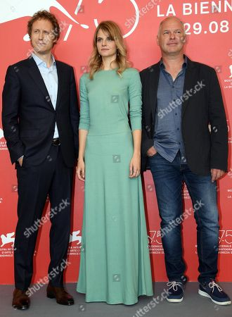 Hungarian director Laszlo Nemes (L), Hungarian actress Juli Jakab (C) and Romanian actor Vlad Ivanov (R) pose during a photocall for 'Napszallta (Sunset)' during the 75th annual Venice International Film Festival, in Venice, Italy, 03 September 2018. The movie is presented in official competition Venezia 75 at the festival running from 29 August to 08 September 2018.