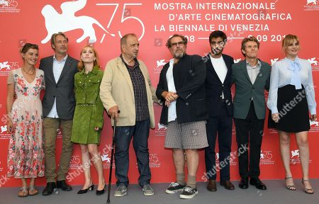 (L-R) French actress Anne Consigny, Danish actor Mads Mikkelsen, French actress Lolita Chammah, US painter and filmmaker Julian Schnabel, French actor Vladimir Consigny, US-Italian actor Willem Dafoe and French actress Emmanuelle Seigner pose during a photocall for 'At Eternitys Gate' at the 75th annual Venice International Film Festival, in Venice, Italy, 03 September 2018. The movie is presented in official competition Venezia 75 at the festival running from 29 August to 08 September 2018.