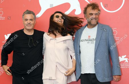 (L-R) Israeli filmmaker Amos Gitai , Israeli actress Yael Abecassis and Italian actor Pippo Delbono pose during a photocall for 'A letter to a friend in Gaza and A tramway in Jerusalem' during the 75th annual Venice International Film Festival, in Venice, Italy, 03 September 2018. The movie is presented in out competition at the festival running from 29 August to 08 September 2018.