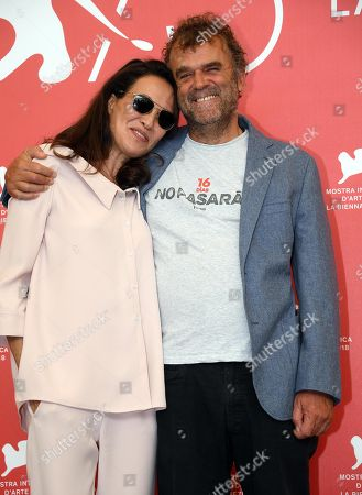 Israeli actress Yael Abecassis  (L) and Italian actor Pippo Delbono pose during a photocall for 'A letter to a friend in Gaza and A tramway in Jerusalem' during the 75th annual Venice International Film Festival, in Venice, Italy, 03 September 2018. The movie is presented in out competition at the festival running from 29 August to 08 September 2018.