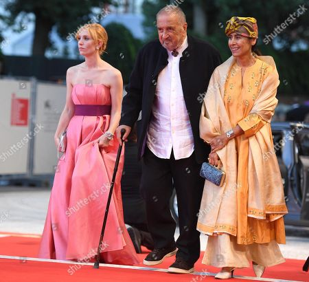 French actress Lolita Chammah (L), Screenwriter Jean-Claude Carriere (C) and his wife, Nahal Tajadod (R) arrive for the premiere of 'At eternity's gate' during the 75th annual Venice International Film Festival, in Venice, Italy, 03 September 2018. The movie is presented in official competition Venezia 75 at the festival running from 29 August to 08 September 2018.