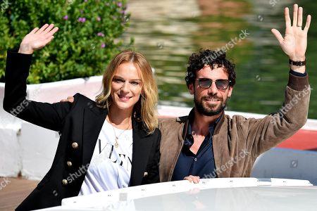 Italian actor Francesco Montanari (R) and Slovak-Italian actress Antonia Liskova arrive at the Lido Beach for the 75th annual Venice International Film Festival, in Venice, Italy, 03 September 2018. The festival runs from 29 August to 08 September.