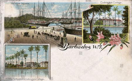 The Principal's Residence Codrington College in Saint John Parish and A View of Trafalgar Square Bridgetown Barbados West Indies Caribbean. Unattributed Postcard (1/2)
