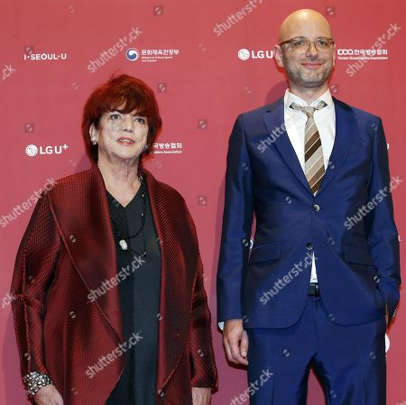 Stock Picture of German TV and film producer Regina Ziegler (L) and producer Kilian Riedhof (R) pose as they arrives for the 2018 annual Seoul International Drama Awards at KBS hall in Seoul, South Korea, 03 September 2018. Seoul Drama Awards is an International TV drama festival. A total of 268 works have been submitted from 56 countries around the world.