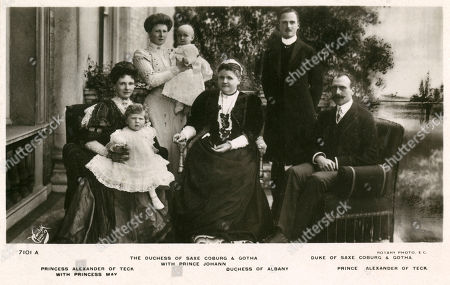 Editorial photo of Duke of Saxe-coburg Gotha and Prince of Teck with Family