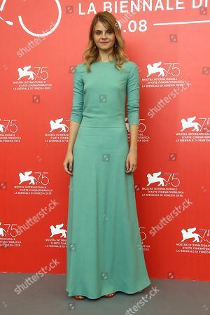 Juli Jakab poses for photographers at the photo call for the film 'Sunset' at the 75th edition of the Venice Film Festival in Venice, Italy