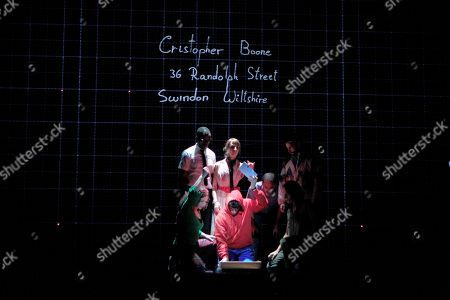 Actors perform during the presentation of the play 'The Curious Incident of the Dog in the Night-Time' at Marquina Theater in Madrid, Spain, 03 September 2018. The play is an adaptation of the bestseller with the same name written by Mark Haddon, five times Tony Award winner, with Jose Arellano as stage director, Jose Luis Collado as script adaptor, Alex Villazan as main character and Gerardo Vera as stage designer.