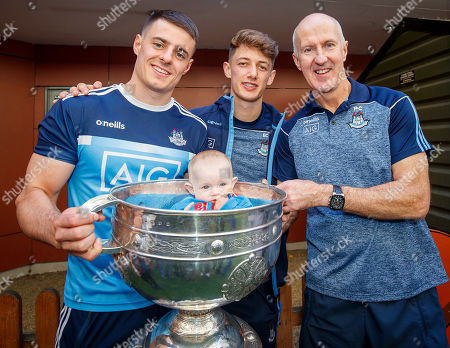 Brian Howard, Evan Comerford and Paul Clarke with Lorcan O'Neill, 8 months old