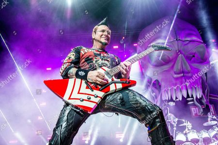 Jason Hook of Five Finger Death Punch seen at the Ruoff Home Mortgage Music Center, in Noblesville, Indiana