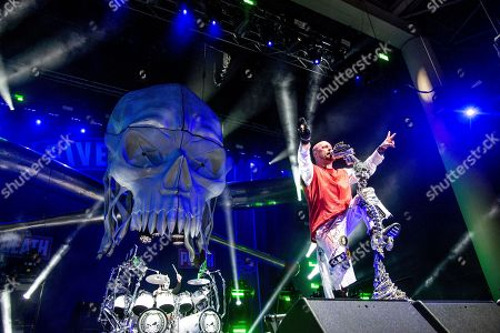 Ivan L. Moody of Five Finger Death Punch seen at the Ruoff Home Mortgage Music Center, in Noblesville, Indiana