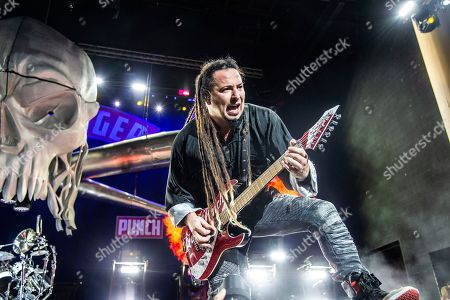 Stock Photo of Zoltan Bathory of Five Finger Death Punch seen at the Ruoff Home Mortgage Music Center, in Noblesville, Indiana
