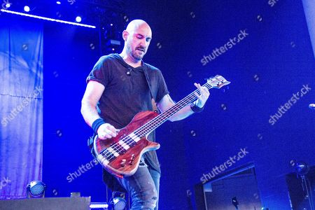 Aaron Bruch of Breaking Benjamin seen at the Ruoff Home Mortgage Music Center, in Noblesville, Indiana