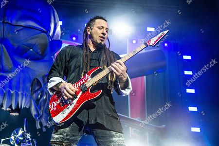 Stock Picture of Zoltan Bathory of Five Finger Death Punch seen at the Ruoff Home Mortgage Music Center, in Noblesville, Indiana