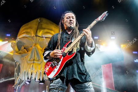Stock Image of Zoltan Bathory of Five Finger Death Punch seen at the Ruoff Home Mortgage Music Center, in Noblesville, Indiana