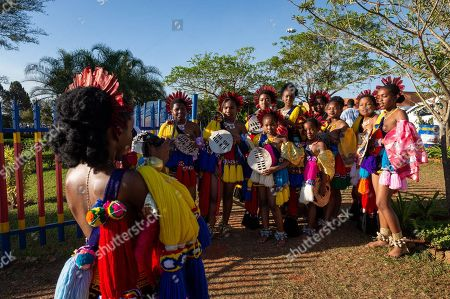 Young women take a group photograph after participating in the annual 'Umhlanga', or Reed Dance ceremony at the Swazi Royal Residence after being presented to King Mswati III, Mbabane, Swaziland, 03 September 2018. On the main day of the eight-day event, the young women gather in their groups according to where they live and present the reeds to the Queen Mother and King Mswati III as a rite of passage.