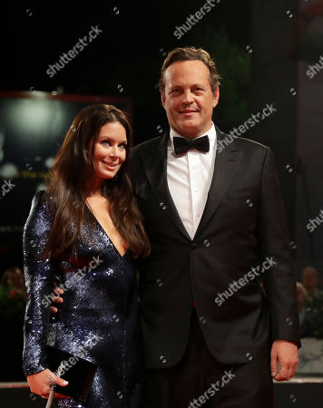 Actor Vince Vaughn and Kyla Weber pose for photographers upon arrival at the premiere of the film 'Dragged Across Concrete' at the 75th edition of the Venice Film Festival in Venice, Italy
