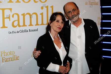"Jean Pierre Bacri, right, and Chantal Lauby attend a photo call for the premiere of ""Photo de Famille"" in Paris"
