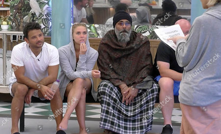 Ryan Thomas, Gabby Allen and Hardeep Singh Kohli listen to Sally Morgan read out a task