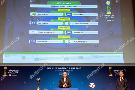 FIFA competitions manager Jaime Yarza (L) and former Argentine soccer player Esteban Cambiasso (R) conduct the draw of the FIFA Club World Cup UAE 2018 as the match fixtures are displayed on an electronic panel at the FIFA headquarters in Zurich, Switzerland, 04 September 2018.