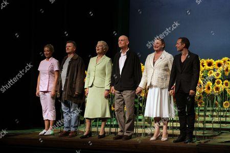 Stock Image of 'Calendar Girls' cast - Gemma Atkinson, Neil McCaul, Richenda Carey, Will Knightley, Delia Lindsay and Jack Ryder