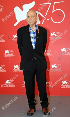 US filmmaker Frederick Wiseman poses during a photocall for 'Monrovia Indiana' at the 75th annual Venice International Film Festival, in Venice, Italy, 04 September 2018. The movie is presented Out of Competition at the festival running from 29 August to 08 September 2018.
