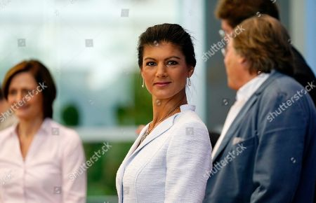 (L-R) Simone Lange, Mayor of Flensburg, Sahra Wagenknecht, chairwoman of the parliamentary group of The Left (Die Linke) party in the German 'Bundestag' parliament, Bernd Stegemann, author and dramatic adviser, and Ludger Volmer, former chairman of The Greens party, arrive for the founding press conference of the movement 'Get Up' (Aufstehen) in Berlin, Germany, 04 September 2018. 'Get up' aims at gathering supporters of different parties in a common movement and to promote campaigns for left-wing political goals.