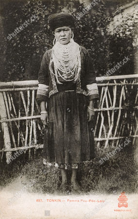 Stock Picture of A Yi Or Lolo Woman From the Border Region of China and Vietnam. Unattributed Postcard