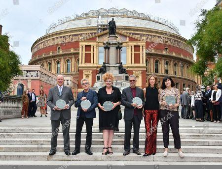 (L-R) Randolph Churchill, Roger Daltrey, Eve Ferret, Eric Clapton, Katie Derham, Catherine Mayer