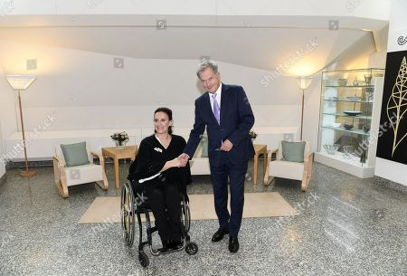 Sauli Niinistö, President of Finland welcomes Gabriela Michetti, Vice President of Argentina at the Finnish President's official residence Mäntyniemi in Helsinki