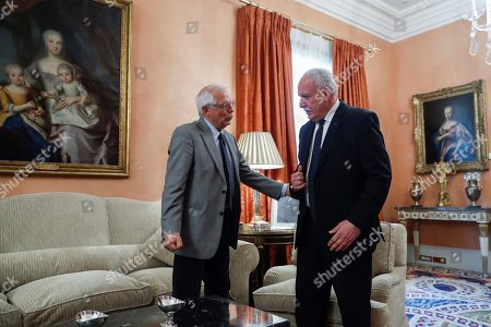 Spanish Foreign Minister, Josep Borrell (L), meets with his Palestinian counterpart, Riad Malki (R), at Santa Cruz Palace in Madrid, Spain, 04 September 2018.