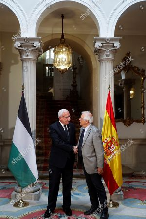 Spanish Foreign Minister, Josep Borrell (R), meets with his Palestinian counterpart, Riad Malki (L), at Santa Cruz Palace in Madrid, Spain, 04 September 2018.