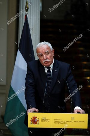 Palestinian Foreign Minister, Riad Malki, during a joint press conference held with his Spanish counterpart, Josep Borrell (unseen), at the end of their meeting at Santa Cruz Palace in Madrid, Spain, 04 September 2018.