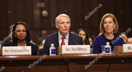 (L-R) Former US Secretary of State Condoleezza Rice, Senator Rob Portman of Ohio and Attorney Lisa Blatt introduce Circuit judge Brett Kavanaugh during his Senate confirmation hearing to be an Associate Justice of the Supreme Court of the United States in the Hart Senate Office Building in Washington, DC, USA, 04 September 2018. President Trump nominated Kavanaugh to fill the seat of retiring justice Anthony Kennedy. If confirmed, Kavanaugh would give conservatives a five-member majority in the high court.