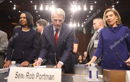 (L-R) Former US Secretary of State Condoleezza Rice, Senator Rob Portman of Ohio and Attorney Lisa Blatt arrive to introduce Circuit judge Brett Kavanaugh during his Senate confirmation hearing to be an Associate Justice of the Supreme Court of the United States in the Hart Senate Office Building in Washington, DC, USA, 04 September 2018. President Trump nominated Kavanaugh to fill the seat of retiring justice Anthony Kennedy. If confirmed, Kavanaugh would give conservatives a five-member majority in the high court.