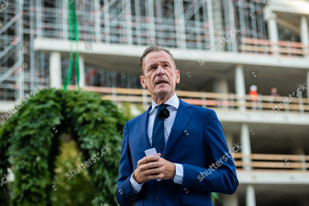 Matthias Doepfner, CEO of Axel Springer, attends the topping out of the new Axel Springer building in Berlin, Germany, 04 September 2018. The new building of Axel Springer, one of the biggest digital publishers in Europe that owns various multimedia news brands is designed by Dutch architect Rem Koolhaas.
