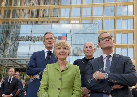 (L-R) Matthias Doepfner, CEO of Axel Springer, Friede Springer, architect Rem Koolhaas and Berlin's Mayor Michael Mueller attend the topping out of the new Axel Springer building in Berlin, Germany, 04 September 2018. The new building of Axel Springer, one of the biggest digital publishers in Europe that owns various multimedia news brands is designed by Dutch architect Rem Koolhaas.