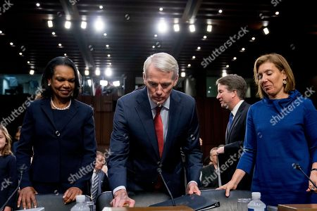 Condoleezza Rice, Rob Portman, Lisa Blatt. From left, former Secretary of State Condoleezza Rice, Sen. Rob Portman, R-Ohio, and Lisa Blatt, a Supreme Court litigator, arrive to introduce President Donald Trump's Supreme Court nominee, Brett Kavanaugh, a federal appeals court judge, appears before the Senate Judiciary Committee on Capitol Hill in Washington, to begin his confirmation to replace retired Justice Anthony Kennedy