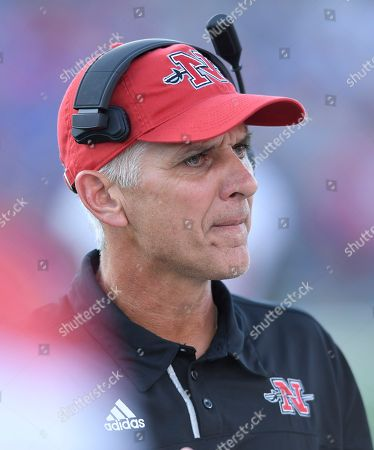 Nicholls State head coach Tim Rebowe during the first quarter of an NCAA college football game against Kansas in Lawrence, Kan