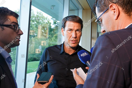 Rudi Garcia, coach of Olympique de Marseille, speaks to the reporters after the meeting after the 2018 UEFA Elite Club Coaches Forum, at the UEFA headquarters in Nyon, Switzerland, 04 September 2018.