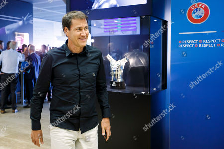 Rudi Garcia, coach of Olympique de Marseille, leaves the meeting after the 2018 UEFA Elite Club Coaches Forum, at the UEFA headquarters in Nyon, Switzerland, 04 September 2018.