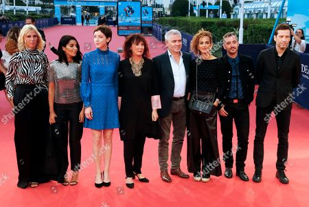 The members of the jury, (L-R) French actresses Sandrine Kiberlain, Leila Bekhti, Sara Giraudeau, Sabine Azema, French director Stephane Brize, French writer Leila Slimani, French actor and director Xavier Legrand and French singer Alex Baupain arrive on the red carpet prior to the premiere of 'The Sisters Brothers' during the 44th Deauville American Film Festival, in Deauville, France, 04 September 2018. The festival runs from 31 August to 11 September.
